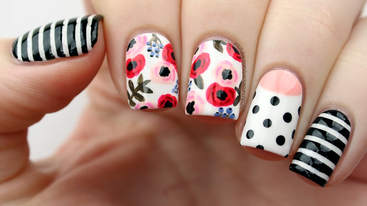 Floral Mix Match Nail Art Tutorial Youtube