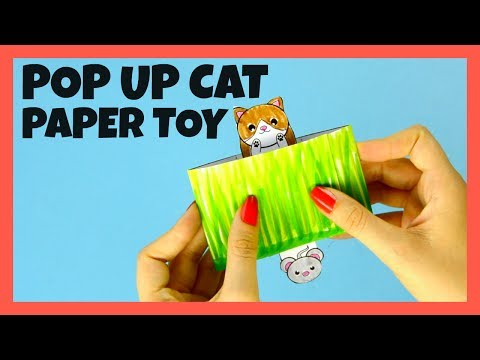 Cat Pop Up Box Paper Toy - with craft template