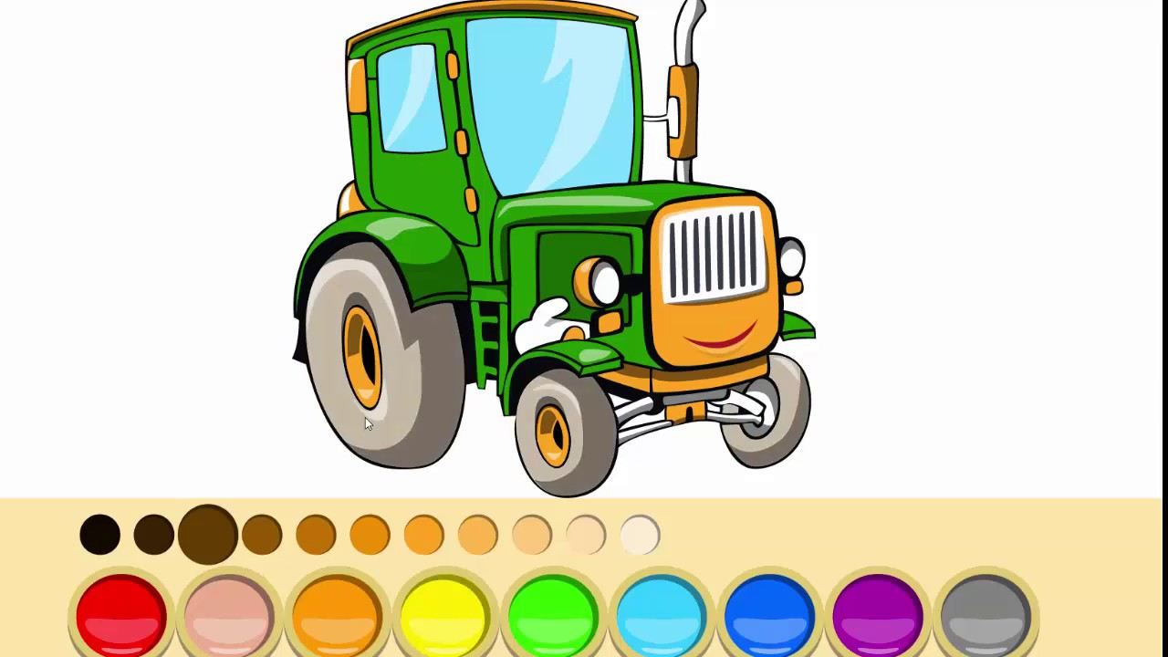Coloring page how to draw TRACTOR 🔴FUN RAINBOW - YouTube