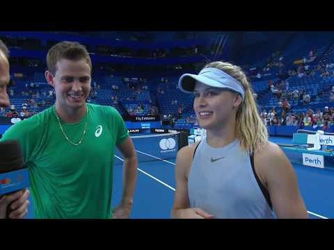 Vasek Pospisil and Eugenie Bouchard on-court interview (RR) | Mastercard Hopman Cup 2018