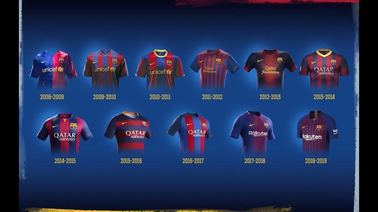 All Fc Barcelona Football Kits In History 1899 2020 Youtube