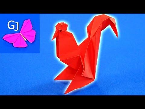 Оригами Огненный Петух из бумаги
