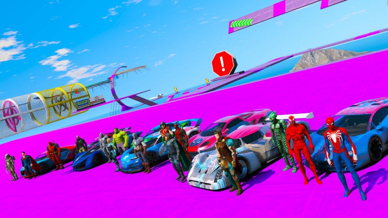 Desafio com CARROS Hot Wheels na Rampa com Homem Aranha e Heróis! - GTA V Mods
