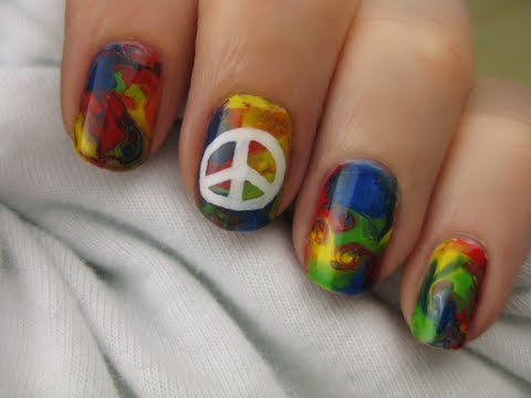 Tie dye hippie nail art youtube tie dye hippie nail art prinsesfo Gallery