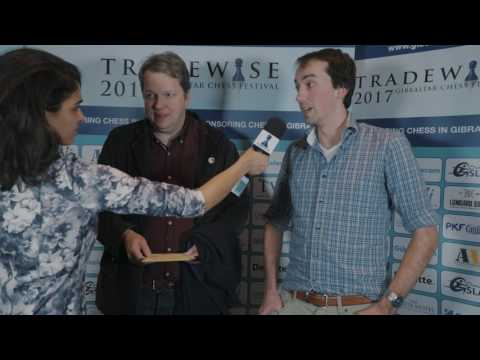 Round 1 Gibraltar Chess post-game interview with Nigel Short and Peter Lombaers