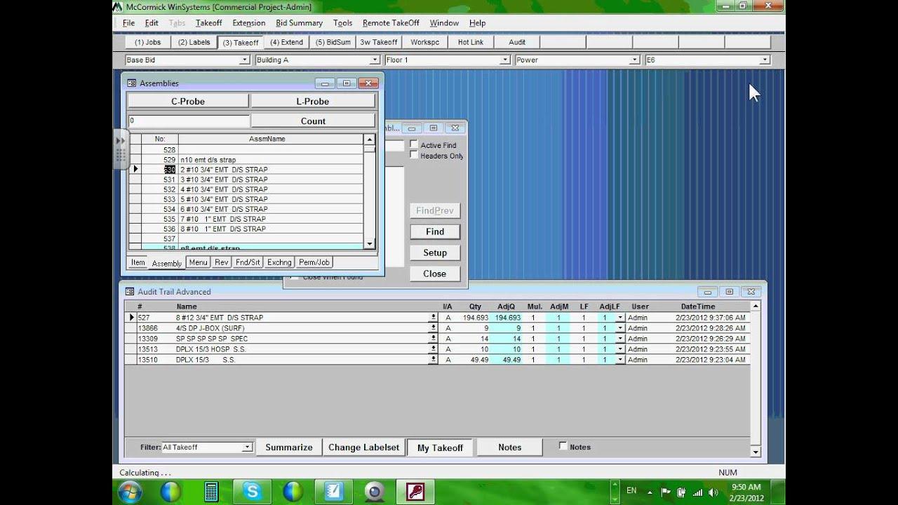 Electrical Estimation-McCormick Software (Win6000-V10.0)Part#1-02-23 ...