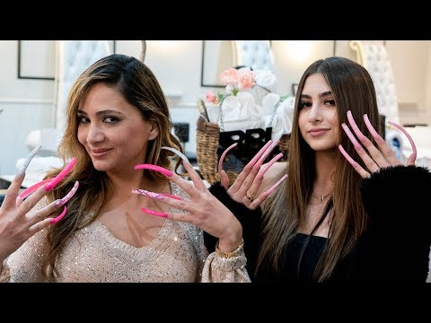 LIVING WITH THE LONGEST ACRYLIC NAILS  FOR A DAY!
