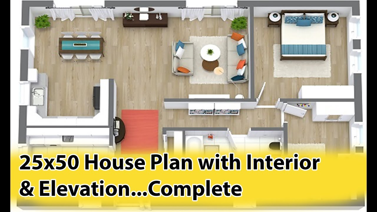 25x50 House Plan with Interior & Elevation complete (2019