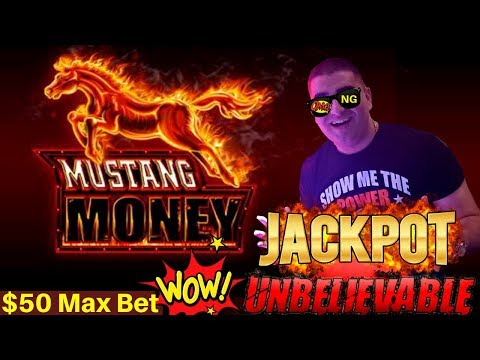 High Limit MUSTANG MONEY Slot Machine HANDPAY JACKPOT - $50 Max Bet | How Many Re-Triggers I Got?
