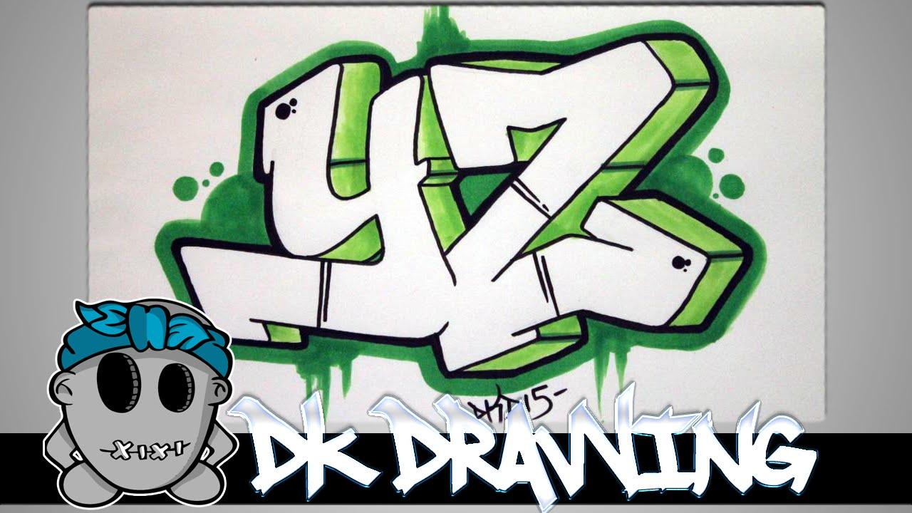How to draw graffiti - Graffiti Letters YZ step by step ...Step By Step How To Draw Graffiti Characters