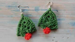 Crochet Christmas Tree Earrings
