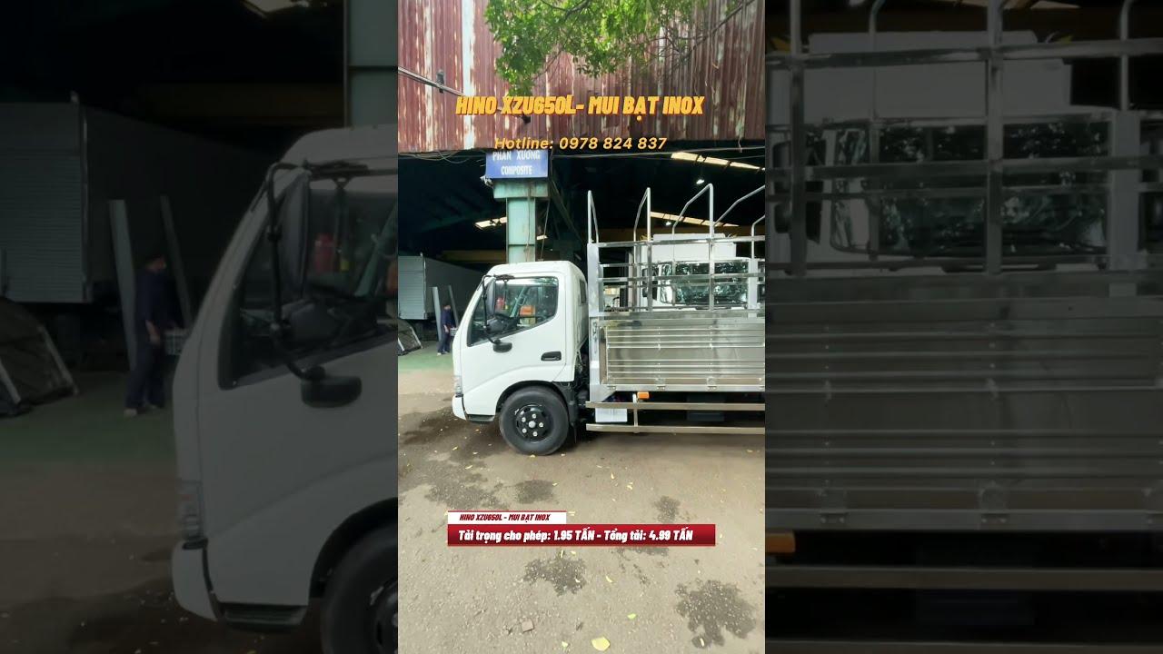 XE TẢI HINO 1T9 XZU650L MUI BẠT INOX- THÙNG DÀI 4M5