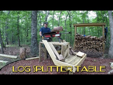 Log splitter processing table build using landscape timbers