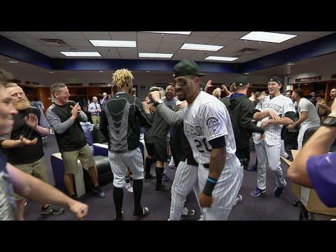 LAD@COL: Rockies celebrate clinching playoffs