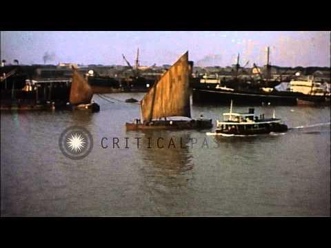 Scenes of busy harbor in Saigon,Vietnam. HD Stock Footage
