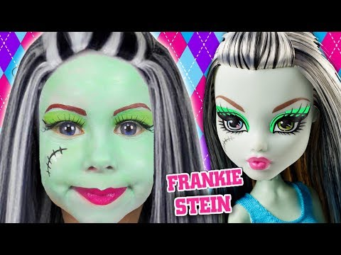Kids Makeup Frankie Stein cosplay. Alisa pretend play with doll then Magic Transform with colours
