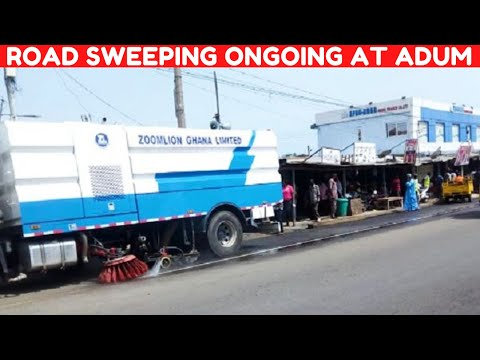 TRUCK ROAD SWEEPING ONGOING AT ADUM | ROAD SWEEPER MACHINE | KUMASI-GHANA.
