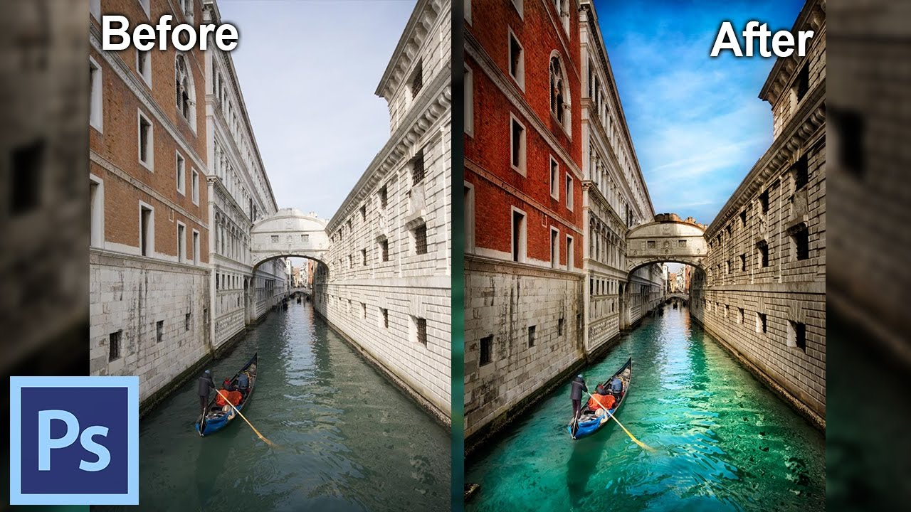 How to Process Photos in Photoshop - Example: The Canals of Venice I |  Photoshop Tutorial - YouTube
