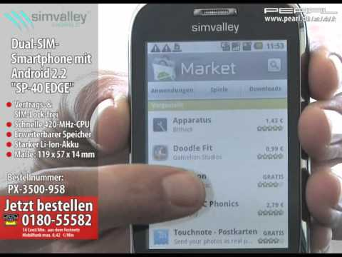 """simvalley MOBILE Dual-SIM-Smartphone mit Android2.2 """"SP-40 EDGE"""", WLAN"""