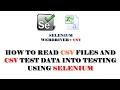 Selenium Tutorials | How to Read csv files using java selenium