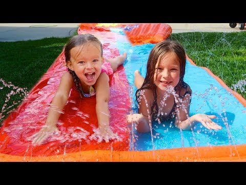 Thumbnail: FIRST GIANT SLIP N SLIDE! 💦 AT HOME WATER PARK!