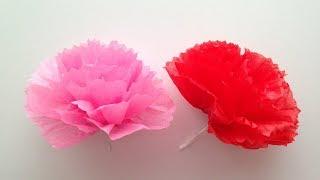 お花紙で作るカーネーションの簡単な作り方を紹介します。 子供でも、と...