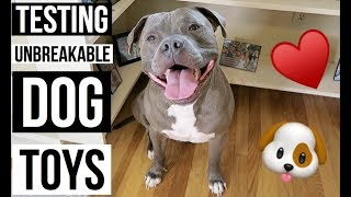 90 LB PITBULL TESTS OUT INDESTRUCTIBLE DOG TOYS | fail or fab