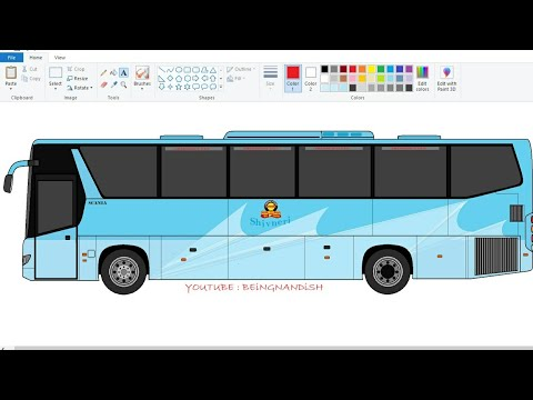 How to draw SHIVNERI Bus on computer using Ms Paint | Drawing MSRTC SCANIA Bus | SCANIA Bus drawing.