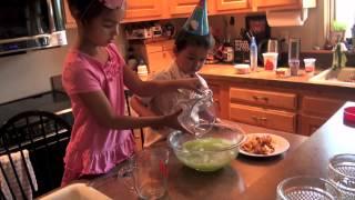 Kids Making Dessert  (yogurt Fluff)