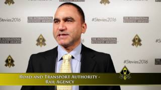 Road and Transport Authority - Rail Agency wins in The 2016 International Business Awards.