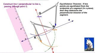 Construct a line perpendicular to a given line through a point not on the line
