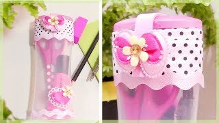 DIY PENCIL CASE: How to Make a Cute No Zipper Pencil Case from Plastic Bottle