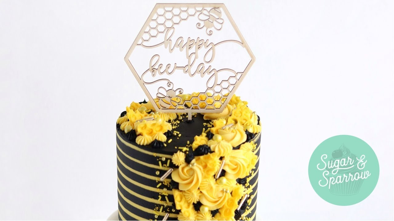 "Bee Themed Birthday Cake with ""Happy Bee Day"" Cake Topper ..."