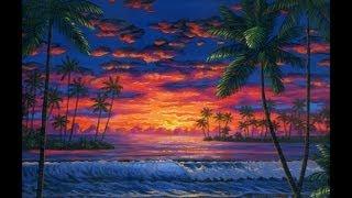 cara melukis pantai di senja menggunakan akrilik di atas kanvas