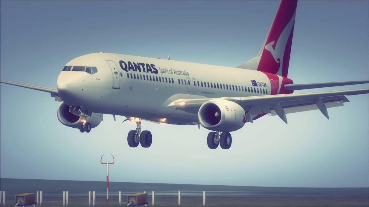 FSX Qantas B737-800 NGX Sydney landing