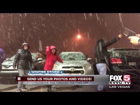 People celebrate the snow in Las Vegas