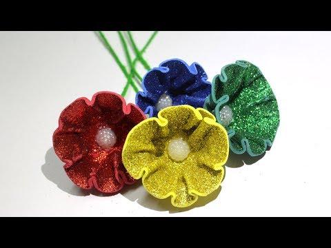 How to Make Glitter Foam Sheet Flowers