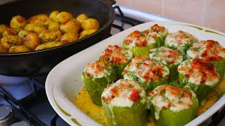 Фаршированные кабачки мясом и овощами Готовим молодой картофель Ужин на всю семью