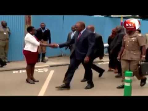 President Uhuru Kenyatta takes a stroll in the streets of Nairobi
