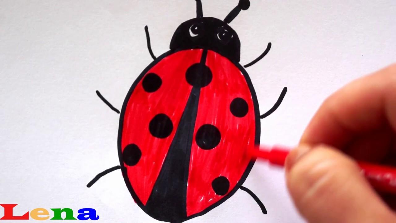 Marienkäfer zeichnen 🐞 Malen für Kinder 🐞 How to draw a ...