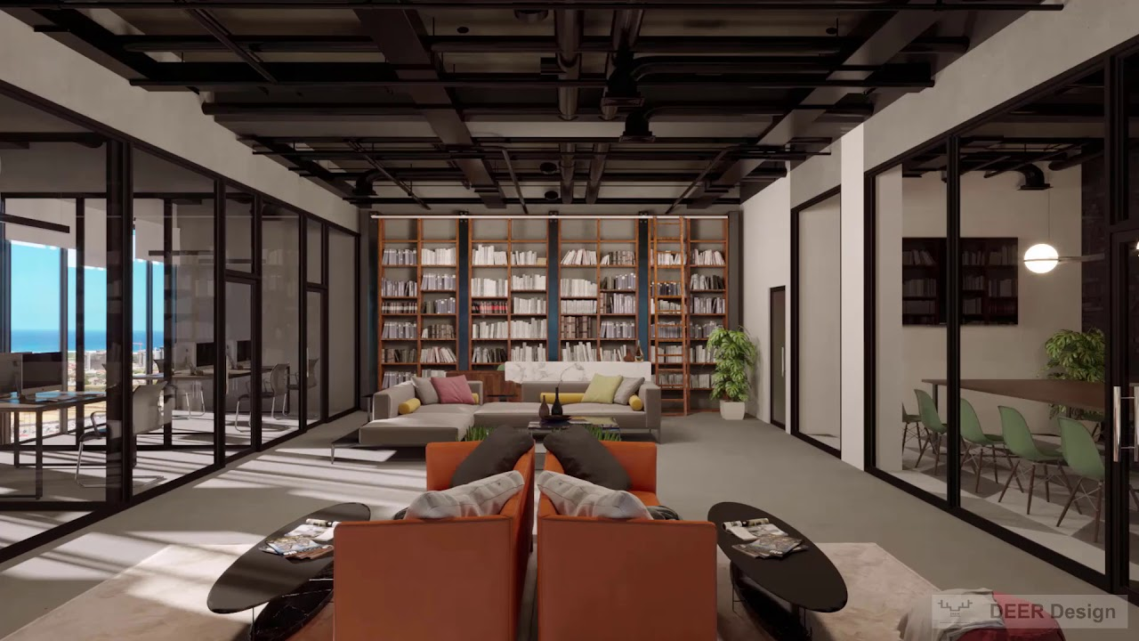 Modern Industrial Office Animation And Walkthrough Video Deer Design Youtube