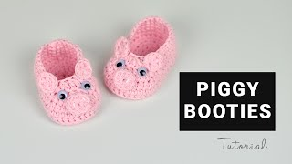 How to Crochet Piggy Baby Booties | Croby Patterns