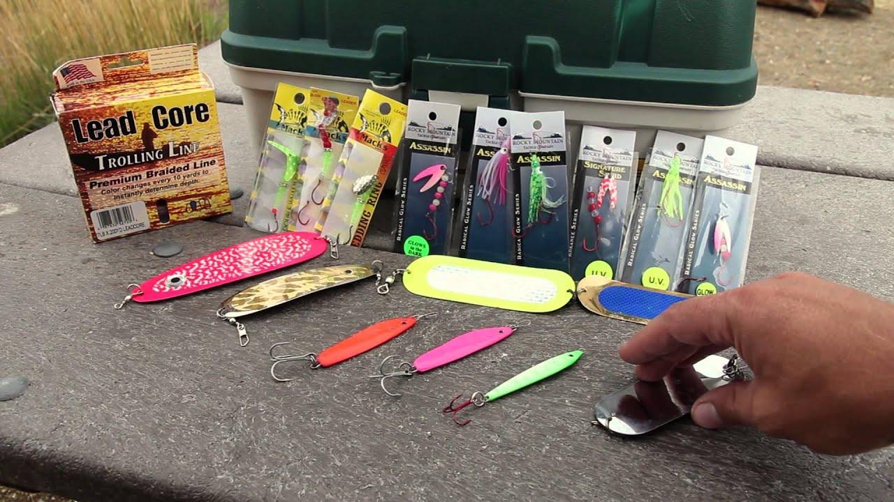 Choosing lures for kokanee salmon youtube for Salmon fishing tackle setup