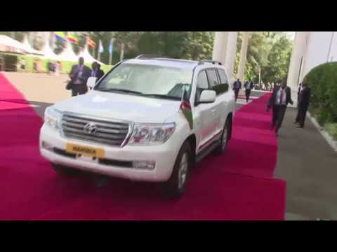 President Hage Geingob's arrival at State House, Nairobi.