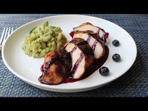 Red, White & Blueberry Grilled Chicken - Spicy Chili-Rubbed Chicken with Sweet Sour Blueberry Sauce