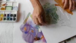 Monika Reiter, Aquarell Start gespachtelte Fläche mit Folienstruktur