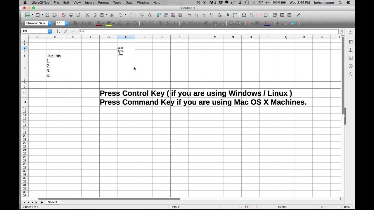 How to have Multiple Rows / Line within a single Cell in LibreOffice Calc /  Microsoft Excel ?