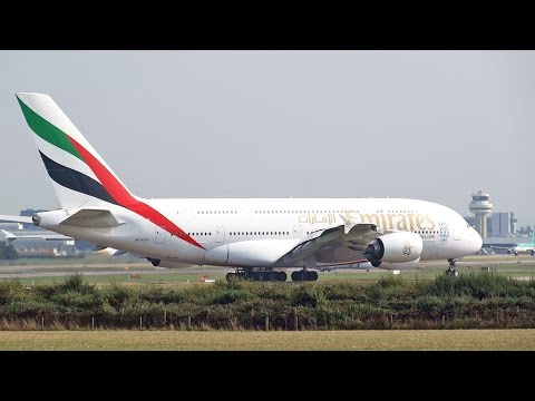 Emirates Airbus A380 A6-EOO Take Off at London Gatwick Airport Runway 08R