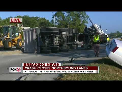 Truck crash closes northbound lanes of Tamiami Trail - 8:30am live report
