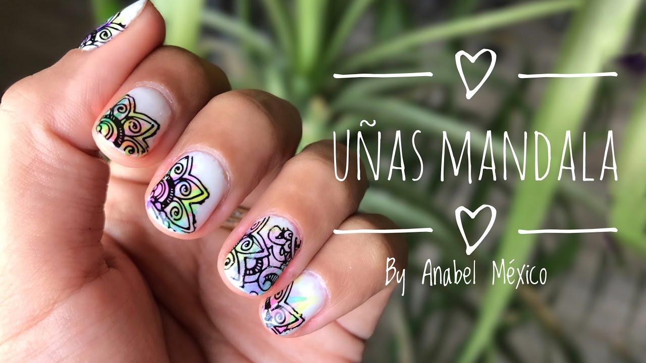 Uñas Mandala: Diseño con stamping ♥ Anabel México - YouTube
